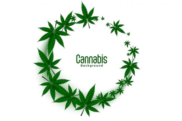 Cannabis oder marihuana-unkraut hinterlässt rahmenhintergrunddesign Kostenlosen Vektoren