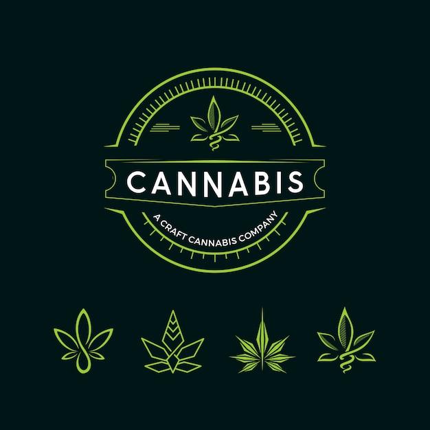 Cannabis-weinlese-logo Premium Vektoren