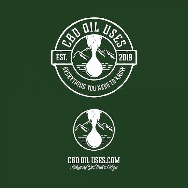 Cannabisöl-logo im modernen vintage-stil Premium Vektoren