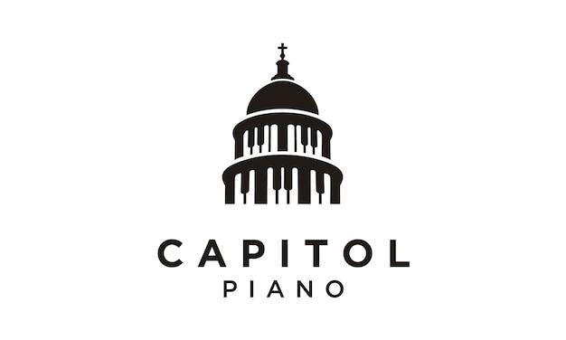 Capitol und piano logo design Premium Vektoren