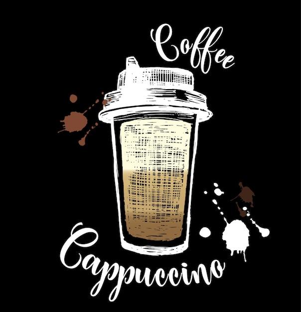 Cappuccino-ikonen im kreide-stil Kostenlosen Vektoren