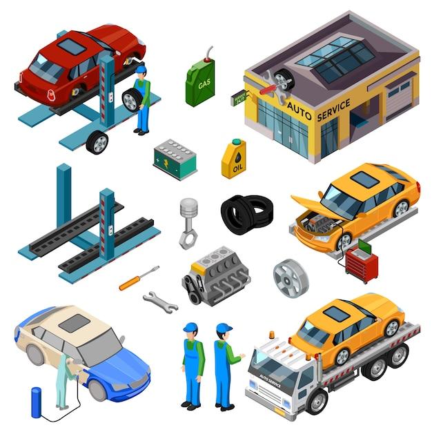 Car service isometrische elemente Kostenlosen Vektoren