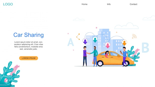 Car sharing landing page Premium Vektoren