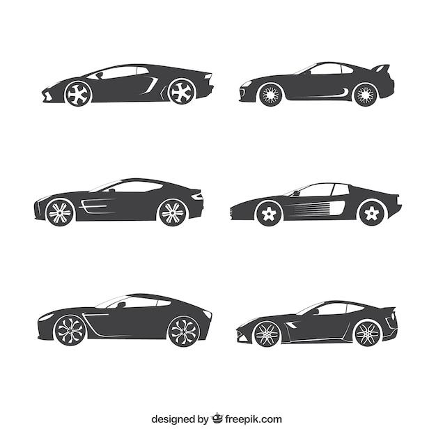 Car Silhouetten Sammlung Kostenlose Vektoren