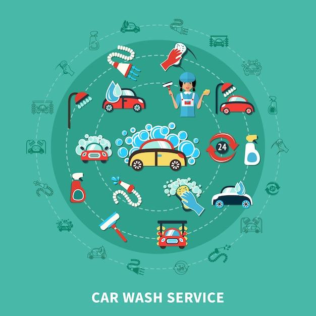 Car wash runde zusammensetzung Kostenlosen Vektoren