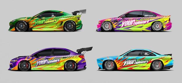 Car wrap aufkleber set für rallye und rennen Premium Vektoren