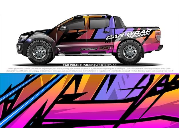 Car wrap design für fahrzeug vinyl aufkleber Premium Vektoren