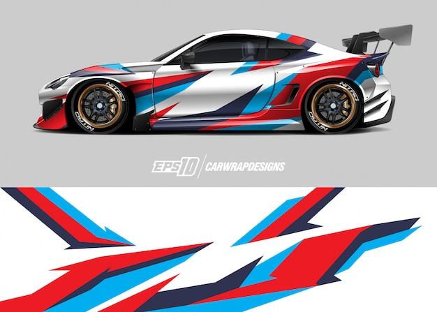 Car wrap design für rennen Premium Vektoren