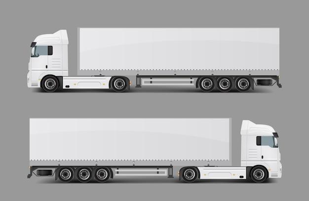 Cargo sattelschlepper mit anhänger realistische vektor Kostenlosen Vektoren