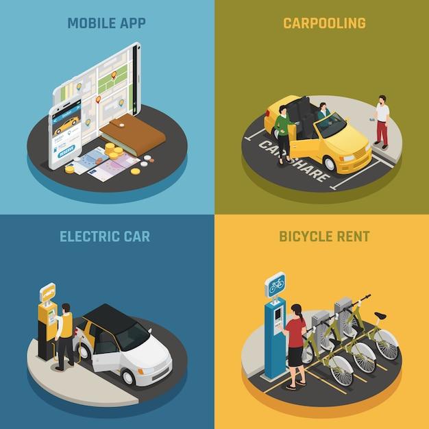 Carsharing 2x2 design konzept Kostenlosen Vektoren