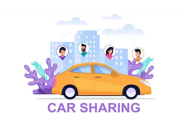 Carsharing-banner mit personen-standort-symbol Premium Vektoren