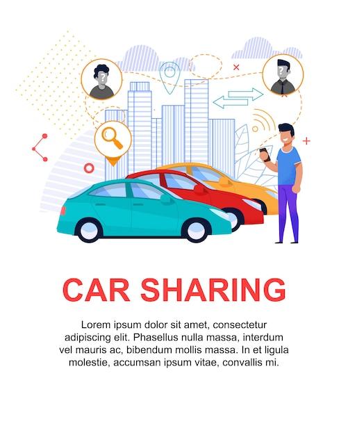 Carsharing flache abbildung. transport miete Premium Vektoren
