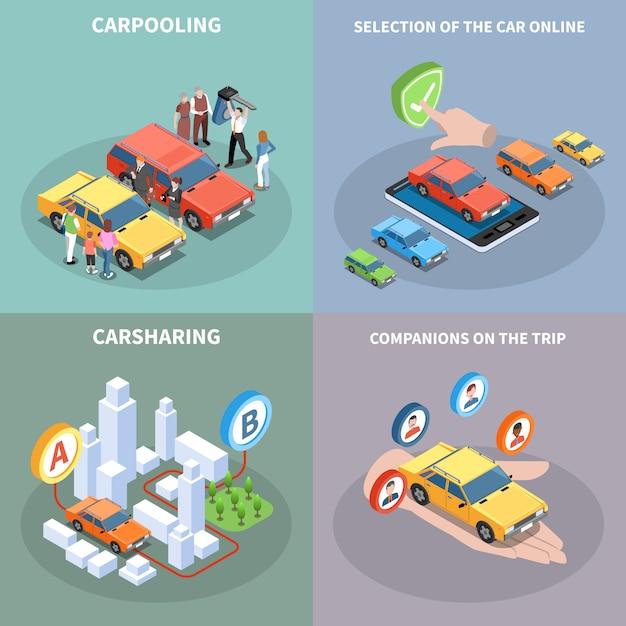 Carsharing-konzeptillustrationssatz mit autoauswahlsymbolen isometrisch isoliert Kostenlosen Vektoren