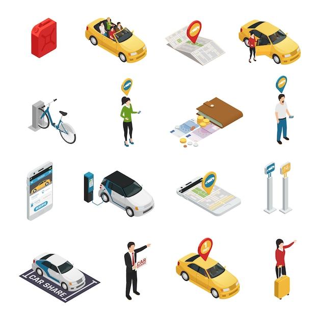 Carsharing mitfahrgelegenheit set Kostenlosen Vektoren