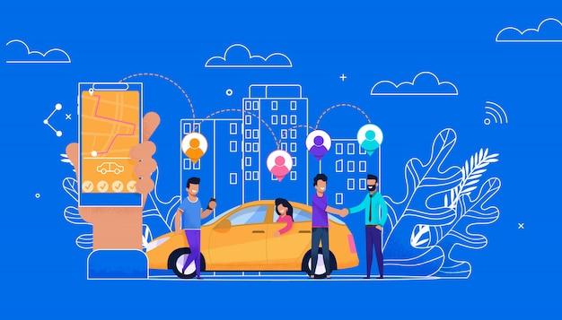 Carsharing online einfache wohnung. passagier-charakter Premium Vektoren