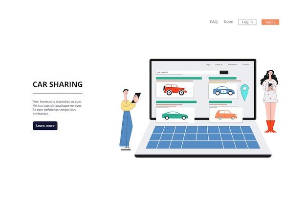 Carsharing-service-banner - cartoon-leute, die laptop mit carsharing-vermietungswebsite-schnittstelle betrachten. Premium Vektoren