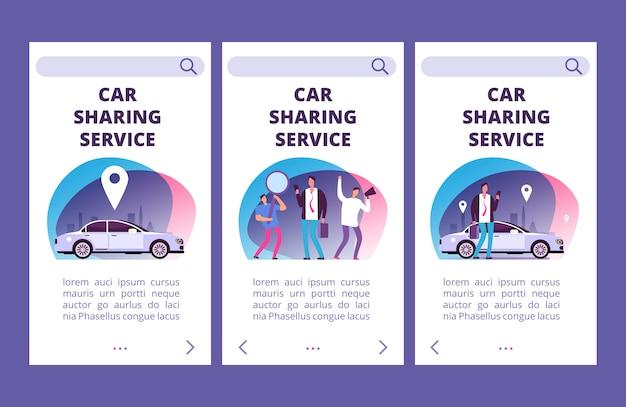 Carsharing-service mobile app seiten vektor-vorlage Premium Vektoren