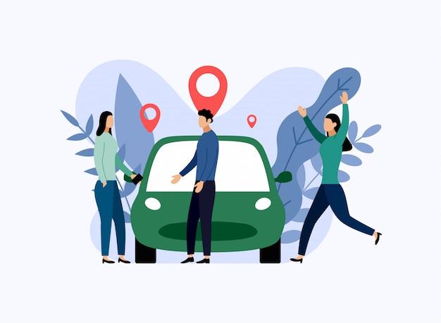 Carsharing-service, mobiler stadttransport, geschäftsillustration Premium Vektoren