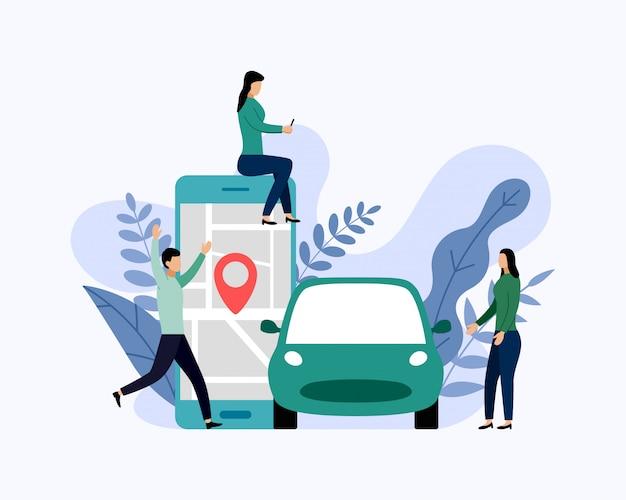 Carsharing-service, mobiler stadttransport, geschäftskonzept-vektorillustration Premium Vektoren