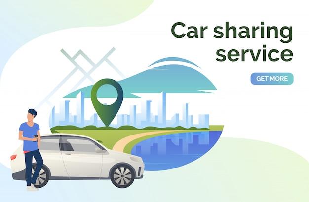Carsharing service schriftzug, mann, auto und stadtbild Kostenlosen Vektoren