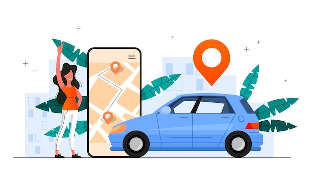 Carsharing-servicekonzept. idee der fahrzeugfreigabe und des transports. mobile anwendung für die autovermietung. illustration Premium Vektoren
