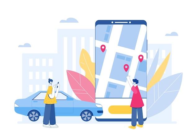 Carsharing und online-taxi-service-konzept. mobile anwendung zum mieten eines autos und zum anrufen eines taxis. Premium Vektoren