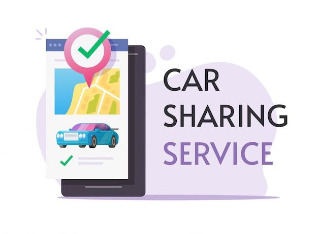 Carsharing-verleih über handy-service online-banner oder carsharing-club für die autovermietung mit smartphone Premium Vektoren