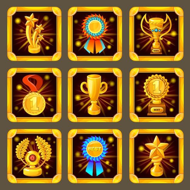 Cartoon achievement game screen set Premium Vektoren