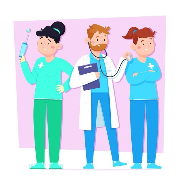 Cartoon ärzte und krankenschwestern Kostenlosen Vektoren