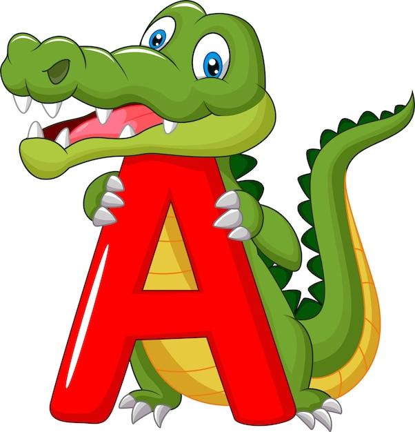 Cartoon alligator mit alphabet a Premium Vektoren
