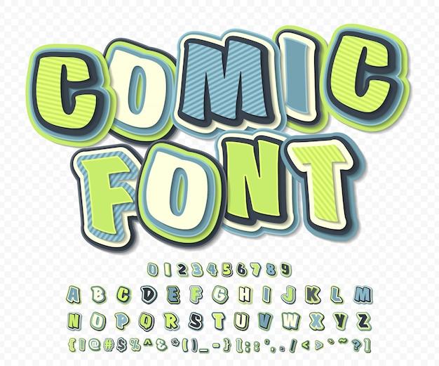 Cartoon-alphabet im comic- und pop-art-stil. grün-blauer guss von buchstaben und zahlen für dekorationscomics-buchseite Premium Vektoren