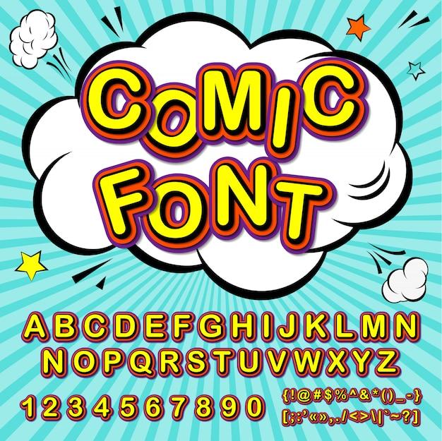 Cartoon-alphabet im comic- und pop-art-stil. lustiger guss von buchstaben und zahlen für dekorationscomics-buchseite Premium Vektoren