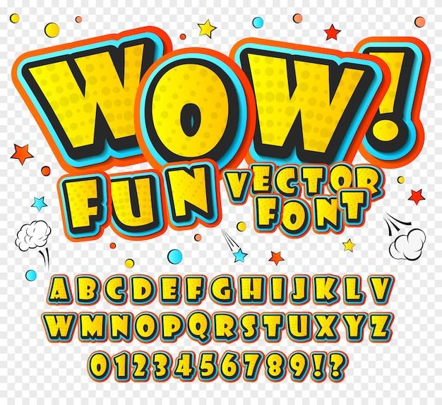 Cartoon-alphabet im stil von comics und pop-art-stil. Premium Vektoren
