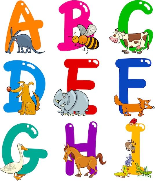 Cartoon alphabet mit tieren Premium Vektoren