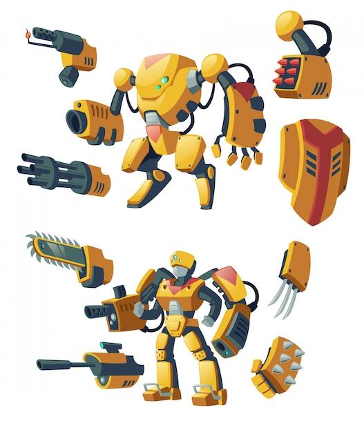 Cartoon-androiden, menschliche soldaten in roboter-exoskeletten mit waffen Kostenlosen Vektoren