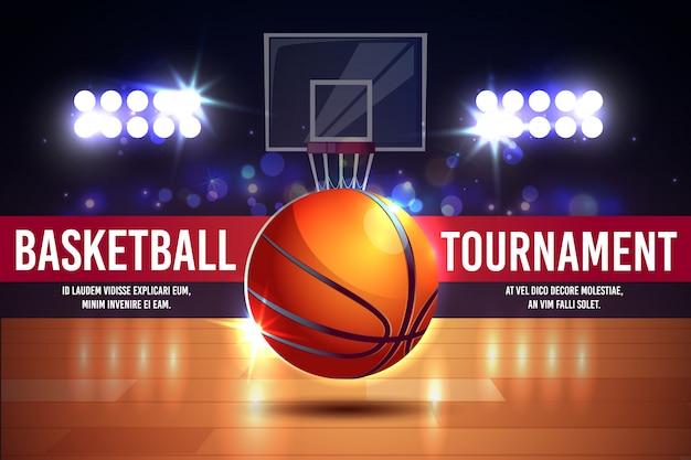 Cartoon-anzeigenplakat, banner mit basketballturnier - leuchtender ball auf einem gericht. Kostenlosen Vektoren