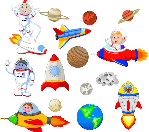 Cartoon-astronaut mit raumschiff-sammlungssatz Premium Vektoren