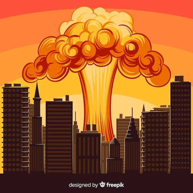 Cartoon atomexplosion in einer stadt Kostenlosen Vektoren