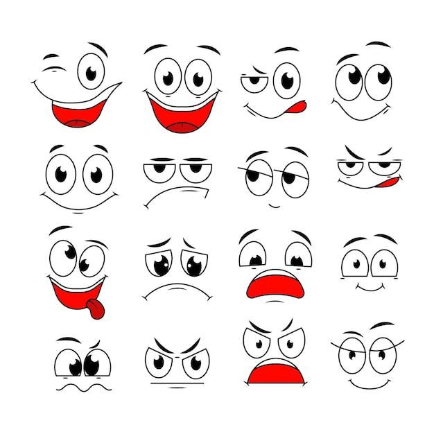 Cartoon-ausdrücke. niedliche gesichtselemente augen und münder mit glücklichen, traurigen und wütenden, ungläubigen gefühlen. karikaturvektorzeichen. wütende ausdrucksemotion, glückliche skizze und lachillustration Premium Vektoren