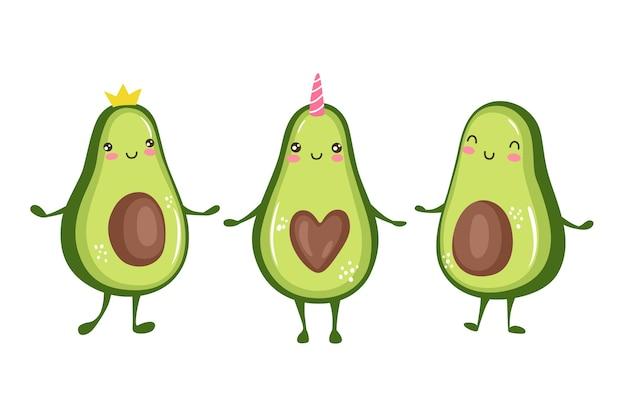 Cartoon avocado charaktere niedliche prinzessin, einhorn. lustige fruchtsammlung lokalisiert auf weißem hintergrund. kawaii illustration. Premium Vektoren