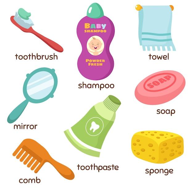 Cartoon badezimmerzubehör vokabeln symbole. spiegel, handtuch, schwamm, zahnbürste und seife. zahnpasta und schwamm, hygieneseife und kamm Premium Vektoren