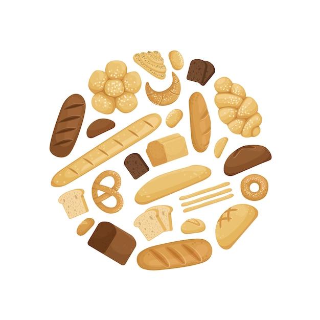 Cartoon bäckerei elemente in kreisform illustration Premium Vektoren