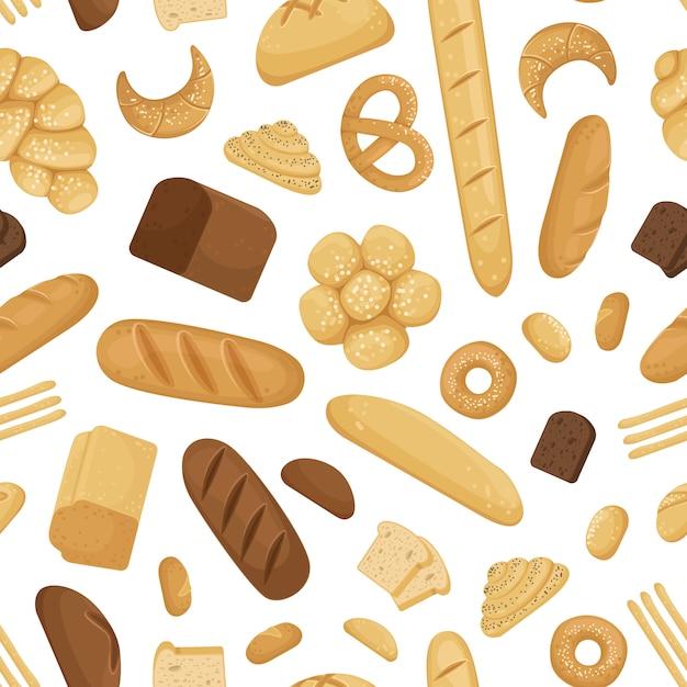 Cartoon bäckerei elemente muster Premium Vektoren