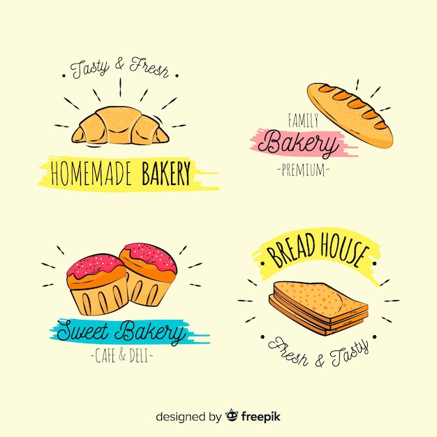Cartoon bäckerei logos sammlung Kostenlosen Vektoren