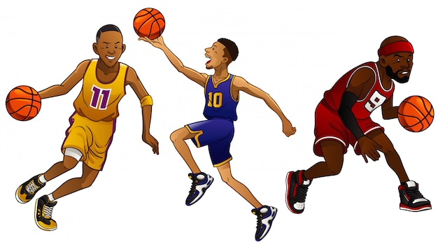 Cartoon-basketball-spieler festgelegt Premium Vektoren