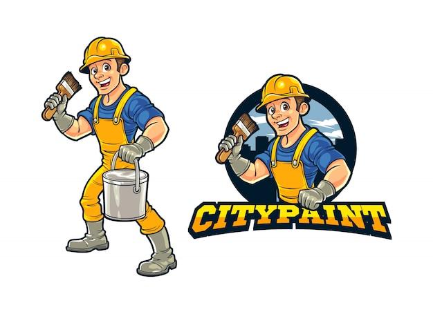 Cartoon bauarbeiter stadtwand maler charakter maskottchen logo Premium Vektoren