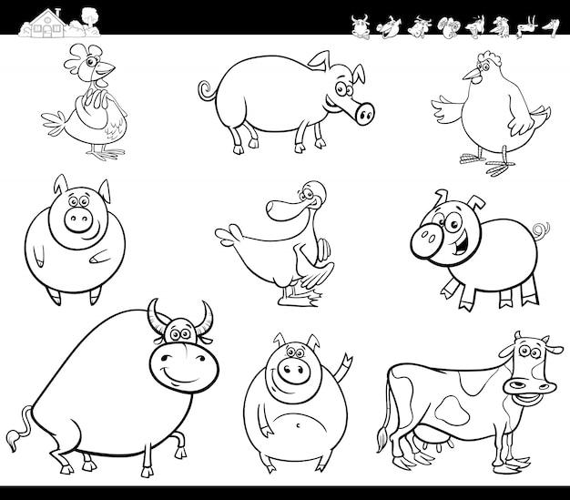 Cartoon Bauernhof Tiere Sammlung Farbbuch | Download der Premium Vektor