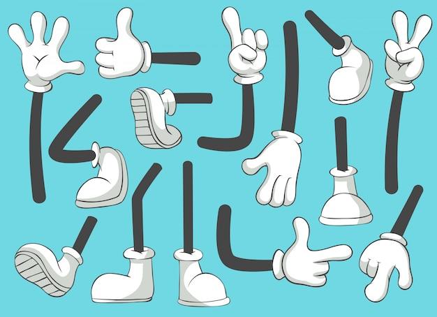 Cartoon beine und hände. bein in stiefeln und behandschuhter hand, komische füße in schuhen. handschuh arm isoliert set Premium Vektoren