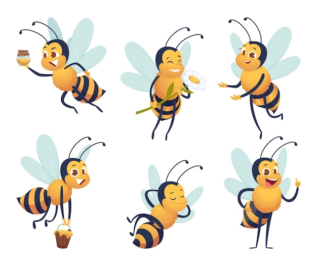 Cartoon biene. glücklicher fliegender insektenmaskottchenbienen-naturhonig liefert charaktere isoliert Premium Vektoren