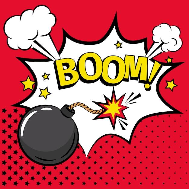 Cartoon-bombe-symbol mit text Premium Vektoren